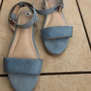 Barely Worn Blue Suede Sandals